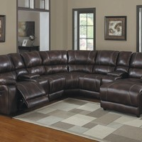 A.M.B. Furniture & Design :: Living room furniture :: Sofas and Sets :: Sectional Sofas :: 6 pc Viewers collection polished microfiber upholstered reclining sectional sofa set with chaise