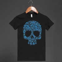 Blue Floral Skull - Grab a Shirt - Skreened T-shirts, Organic Shirts, Hoodies, Kids Tees, Baby One-Pieces and Tote Bags