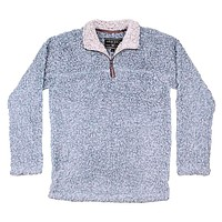 Softest Tip Shearling 1/4 Zip Pullover in Chambray by True Grit