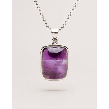 Amethyst Square Pendant Necklace - One of a Kind