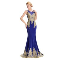 Gold Embroidered Mermaid Evening Dress with Blue Lace