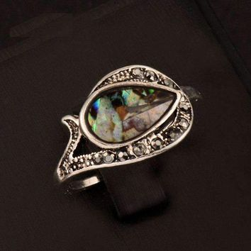 Tear Drop Abalone Shell and Black Crystal Vintage Silver Ring