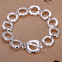 925 Silver Plated Square O-Link Square Charm Bracelet