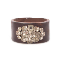 Made In The Deep South Oval Crystal Brooch & Brown Leather Cuff