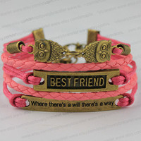 """The ancient bronze owl, best friend, """"where there 's a will there' s a way"""", bracelet, best gift of friendship"""