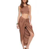Low Waist Ruched Slit Bodycon Maxi Skirt