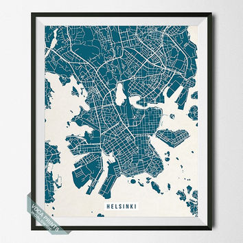 Helsinki Print, Finland Poster, Helsinki Street Map, Finland Map Print, Dorm Decoration, Modern Decor, Street Map, Back To School