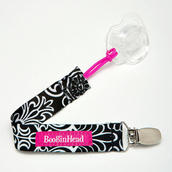 BooginHead PaciGrip Pacifier Clip - Black and White Black Flourish