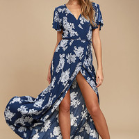 Heart of Marigold Navy Blue Floral Print Wrap Maxi Dress