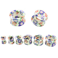 """Lot of 12pcs Flowers Acrylic Hollow Double Flare Tunnel Ear Plugs 2pcs Each of 2G 0G 00G 1/2"""" 9/16"""" 5/8"""""""