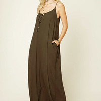 Tie-Front Pocketed Maxi Dress