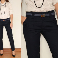 Slim Fit  Pants High Waisted Trousers in Navy Blue for Women Office Fashion