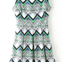 Grey and Green with Zipper Tribal Print Sun Dress