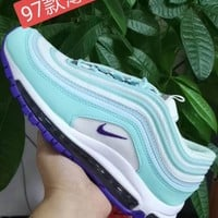 HCXX 19July 956 Nike Air Max 97 Flyknit Breathable Running Shoes Mint Green