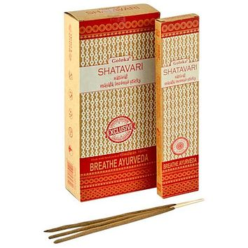 Goloka Shatavari Natural Masala Incense - 15 Gram Pack (6 Packs Per Box)