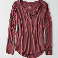 AEO Henley Long Sleeve T-Shirt, Orchid Bouquet