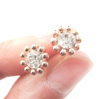 Pretty Floral Flower Shaped Small Stud Earrings in Rose Gold with Rhinestones | DOTOLY
