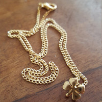 Gold plated dainty necklace Four leaf clover charm small necklace beautiful gift dainty jewelry