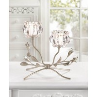 Crystal Flowers Tabletop Candle Holder
