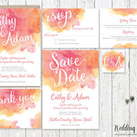Printable Wedding Invitation set, Peach and Pink wedding invitation, watercolour Invitation Set, Watercolour Wedding Invite, wedding kit