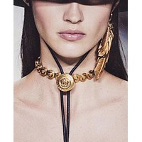 VERSACE Hot Sale Model Women Retro Earrings Necklace Jewelry