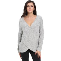Knit Winter Sexy V-neck Long Sleeve Pullover Sweater [11335930503]