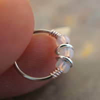 18 or 20 Gauge Iridescent Rose Gold PinkNose Hoop Ring or Cartilage Hoop Earring