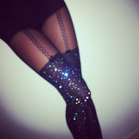 cosmic. crystalized black tights with built-in garter.