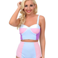 Kingdom & State 1960s Style Mod Light Blue & Pink Color Block High Waist Bombshell Swim Bottom