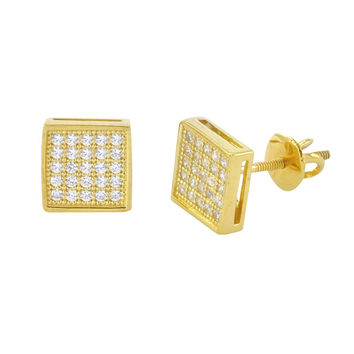 Screwback Earrings .925 Sterling Silver Yellow Gold Clear CZ 7mm Square Studs
