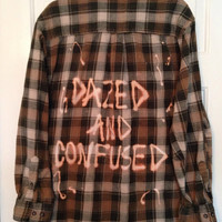 """Plaid flannel """"Dazed and Confused"""" hand bleached shirt // soft grunge"""