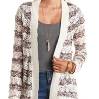Marled Stripes Open Knit Cardigan Sweater - Burgundy Cmb