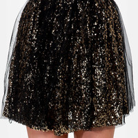Tulle Intentions Black and Gold Sequin Skirt