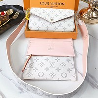 LV Fashion New Monogram Print Leather Shoulder Bag Crossbody Bag Three Piece Suit White