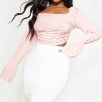 Plus Peach Slinky Ruched Square Neck Crop Top