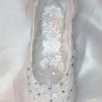 """Nutcracker Snow Queen/Snowflake in white. Frozen """"ice"""" crystals, snowflakes, and AB Swarovski accents. Ready to ship. Decorated pointe shoe."""