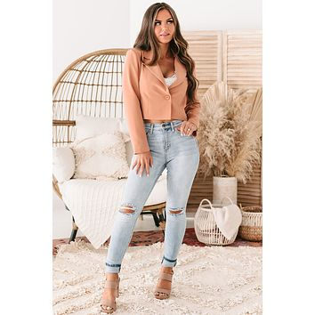 Miss Punctuality Padded Shoulder Cropped Blazer (Apricot)