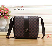 LV Louis Vuitton 2018 new women's tide brand fashion Messenger bag shoulder bag F-RF-PJ Coffee plaid
