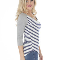 Striped Tee in Navy