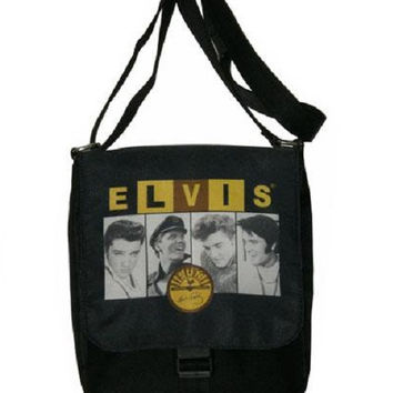 Celebrity Print Elvis & Sun Messenger Bag