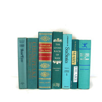 Turquoise  Green Vintage Decorative Book Set for Book Home Decor , Gift for  Book Lover ,  Wedding Decor and Photo Prop