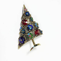 Vintage Weiss Christmas Tree Brooch, Designer Signed Holiday Pin, Winter Hat Flair