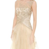 Metallic Lace Gown with Tulle Skirt