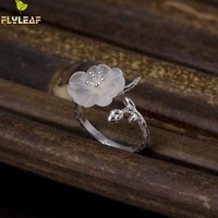 Flyleaf 100% 925 Sterling Silver Crystal Plum Branches Open Rings For Women Elegant Lady High Quality Fashion Jewelry