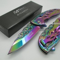 1 X Mech Assisted Opening Rescue Tactical Pocket Folding Collection Knife Outdoor Survival Camping Hunting - Rainbow