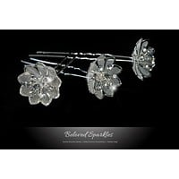 Madison Mesh Flower Hair Pin | Rhinestone