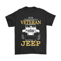 AUGUAU Never Underestimate A Veteran With A Jeep Shirts