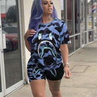 BAPE AAPE Summer Newest Women Casual Print Shorts Sleeve Top Shorts Set Two Piece Sportswear Camouflage Blue