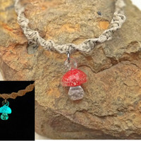 Glow In the Dark Red Mushroom Hemp Spiral Necklace with Fimo Mushroom Top 18 Inch Necklace