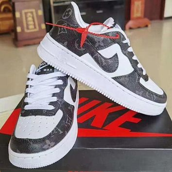LV Louis Vuitton NIKE Air force 1 stitching color letter print low-top men's and women's sneakers Shoes Black